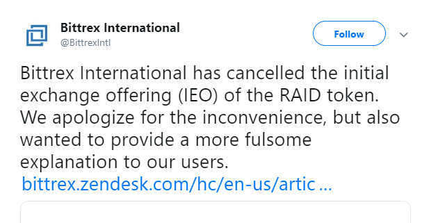 Bittrex Exchange cancelled the RAID ICO launch due to fake