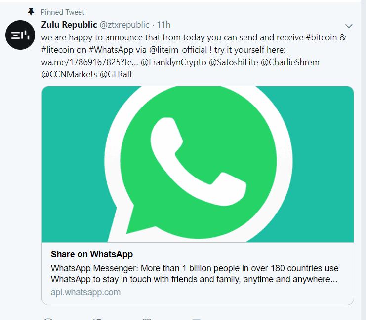 Bitcoin on whatsapp
