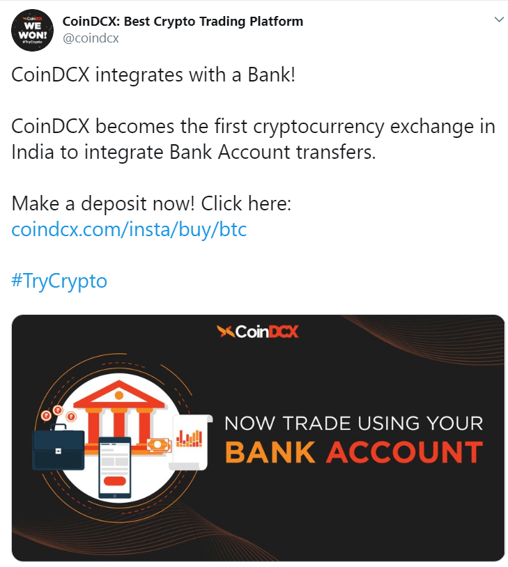 coindcx bank transfers